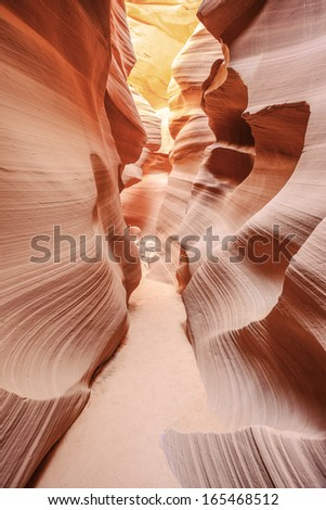 Vertical view of the famous Antelope Canyon, Page, Arizona, USA  - stock photo