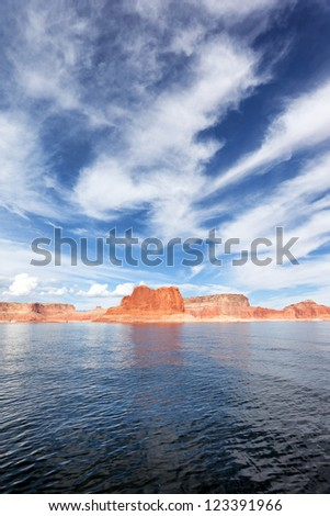 vertical view of the lake Powell, USA - stock photo