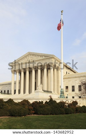 Vertical view of the United States Supreme Court building, Washington, DC. - stock photo