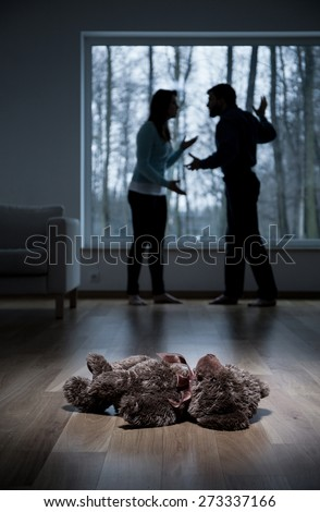 Vertical view of violence at child's home - stock photo