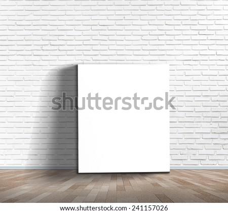 vertical white board on white brick wall texture background