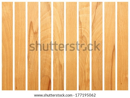 vertical wooden boards  isolated on white for floor design - stock photo