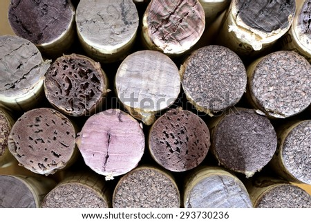 vertically arrenged wine corks. repetitive pattern - stock photo