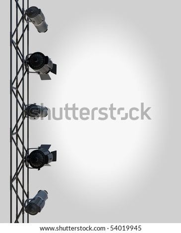 vertically hung spotlights lighting the right side of a page up. - stock photo