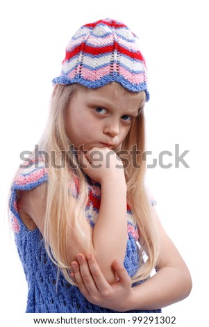 very angry girl on a white background - stock photo
