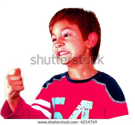Very angry kid (red face - funny) - stock photo