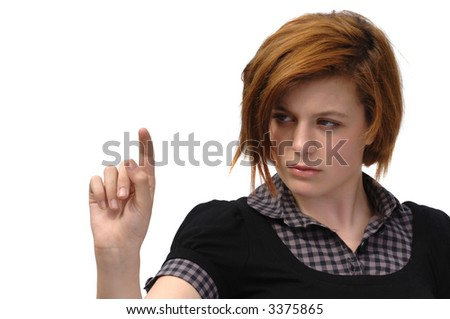 Very attractive Marketing Girl / Businesswoman pointing - stock photo