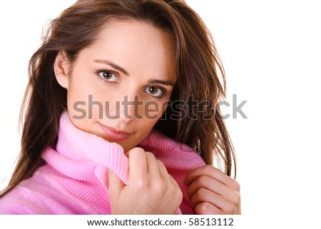 very attractive young woman in pink jumper, studio shoot isolated on white background - stock photo