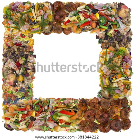 Very bad rotten dirty smelly  old food photo frame concept. isolated abstract collage - stock photo