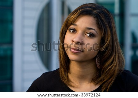 Very beautiful and pretty teenager with brown hair happy smiling - stock photo