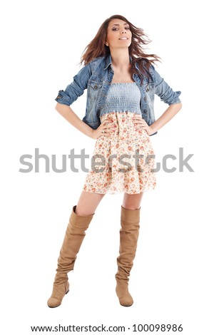 Very beautiful and super sexy country and western girl - stock photo