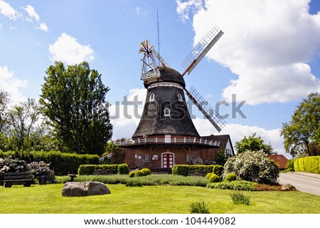 "Very beautiful windmill in the village of ""Bad Bederkesa"", Germany - stock photo"