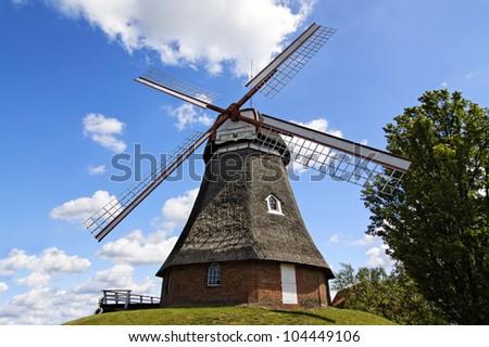 "Very beautiful windmill in the village of ""Bad Bederkesa"", Germany - stock photo"