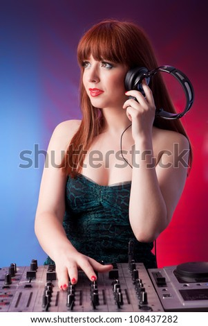 Very beautiful young woman deejay