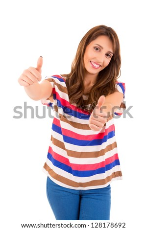 Very beautiful young woman signaling ok, isolated over white - stock photo
