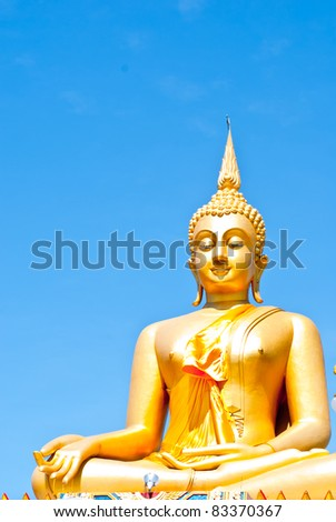 Very big Golden Buddha and Blue Sky
