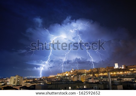 Very big lightning on the city - stock photo
