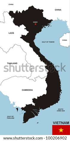 very big size black map of vietnam with flag