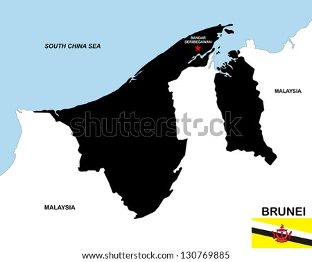 very big size brunei black map with flag