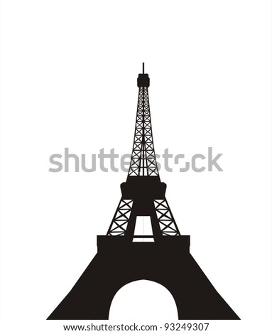 very big size eiffel tower black silhouette illustration