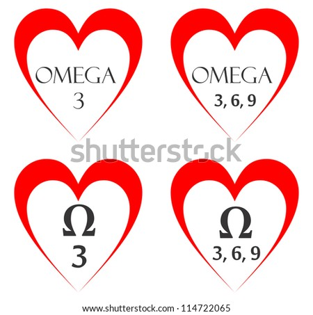 Very Big Size Four Omega Heart Stock Illustration 114722065