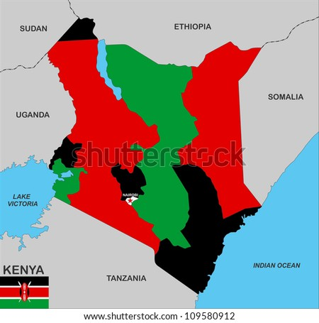 very big size kenya country political map - stock photo