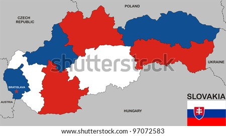 very big size slovakia political map with flag - stock photo