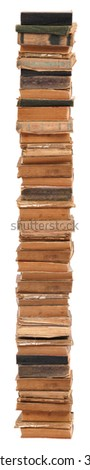 Very big stacked old books of different shape and color. Isolated on white background. - stock photo