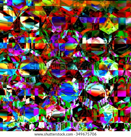 Very bizarre and chaotic clutter. Modern abstract art. Full frame creation. Crazed delirium pic. Dirty colour pattern. Messy stylish render. Shiny diamond surface. Strange crazy designs. Artistry. - stock photo