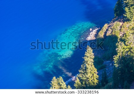 very blue and clear water,view from Sinott overlook,some scenic view in Crater Lake national park,Oregon,USA.
