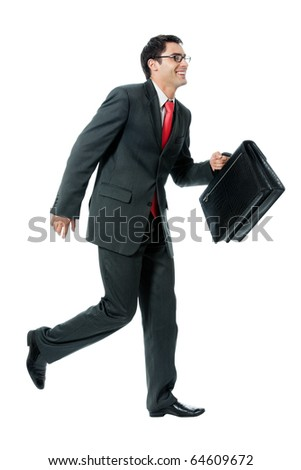 Very busy businessman with briefcase running to important meeting, isolated on white background