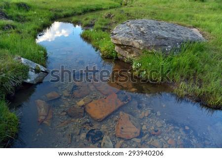 Very clear transparent creek in the mountains - stock photo