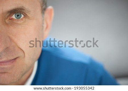 Very close portrait and eye of man  - stock photo