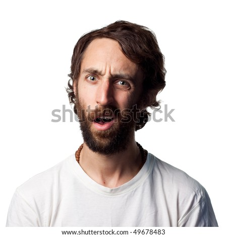 Very confused looking guy - stock photo