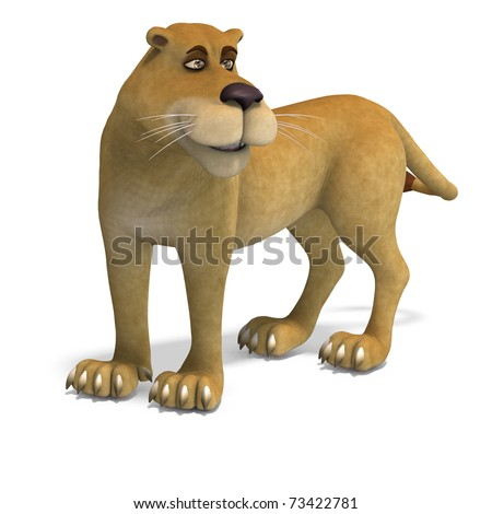 very cute and funny female cartoon lion. 3D rendering with clipping path and shadow over white