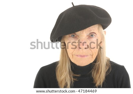 Very Cute Image Of a Senior French woman On White - stock photo