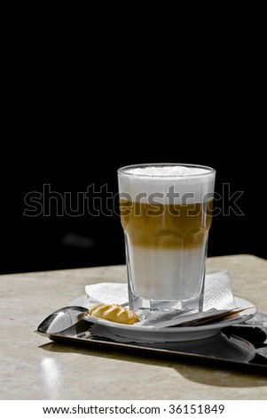 very delicate latte coffee in the summer sunshine - stock photo