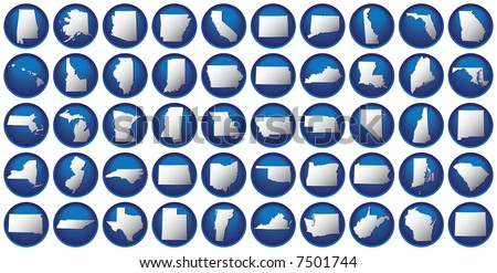 Very detailed buttons of all fifty states. States are organized alphabetically let to right, top to bottom. - stock photo