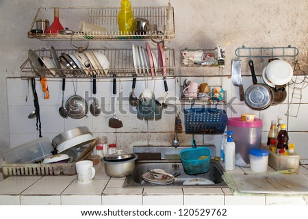 Very dirty kitchen, Should be cleaned. - stock photo