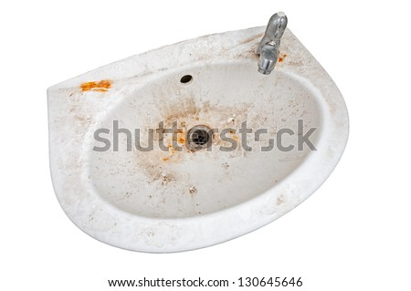 Very dirty sink isolated on white - stock photo