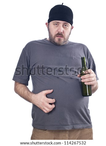 very drunk person, making silly gesture - stock photo
