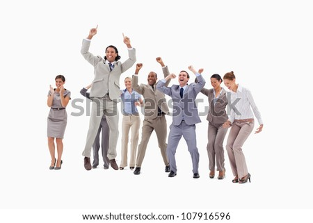 Very enthusiast business people jumping and raising their arms against white background - stock photo