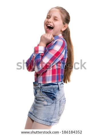 Very excited little girl on white background