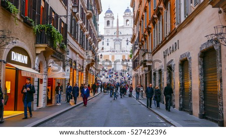 Very exclusive shopping street with luxury brands at Spanish Square in Rome - ROME / ITALY - NOVEMBER 6, 2016