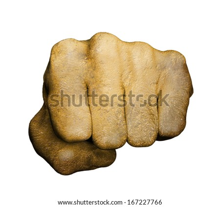 Very hairy knuckles from the fist of a man punching, golden hand - stock photo