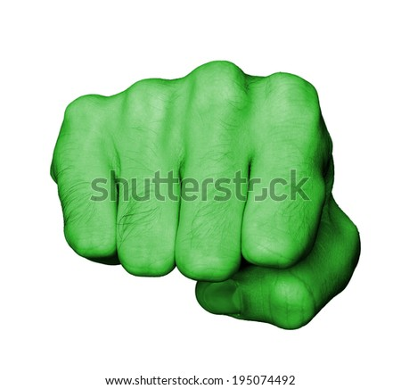 Very hairy knuckles from the fist of a man punching, green skin - stock photo