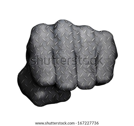 Very hairy knuckles from the fist of a man punching, metal plate print - stock photo