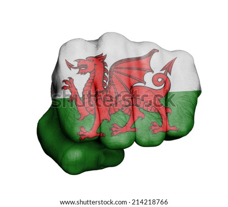 Very hairy knuckles from the fist of a man punching, with Welsh flag. - stock photo