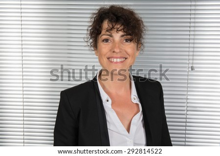 Very happy and cheerful lady brunette - stock photo