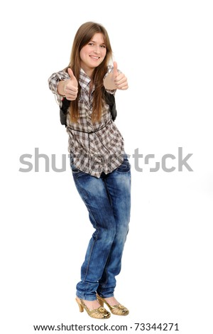 Very happy and ecstatic winner of something. Isolated on white background. - stock photo